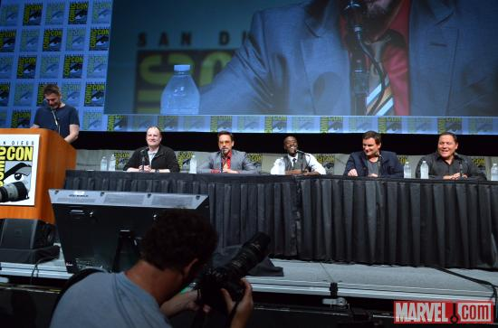 The cast of Iron Man 3 during Marvel Studios' Hall H presentation at SDCC 2012