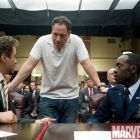 Robert Downey Jr., Jon Favreau and Don Cheadle on the set of Iron Man 2