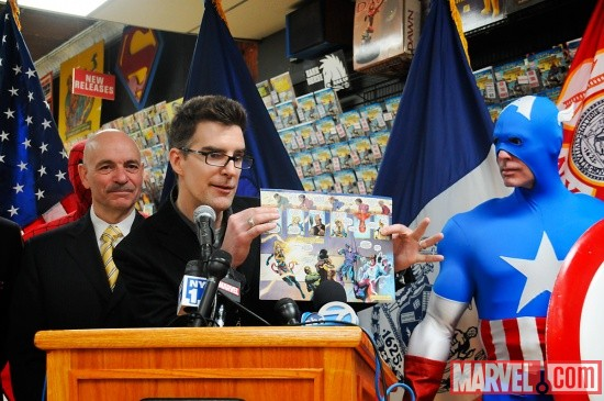 Marvel Editor Bill Rosemann with the fire safety comic book