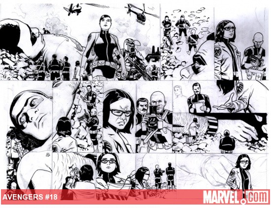 Avengers (2010) #18 in progress preview art by Daniel Acuna