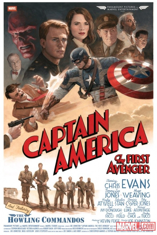 Captain America: The First Avenger cast & crew poster by Paolo Rivera