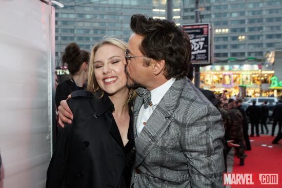 Scarlett Johansson and Robert Downey, Jr. at the Moscow premiere of Marvel's the Avengers