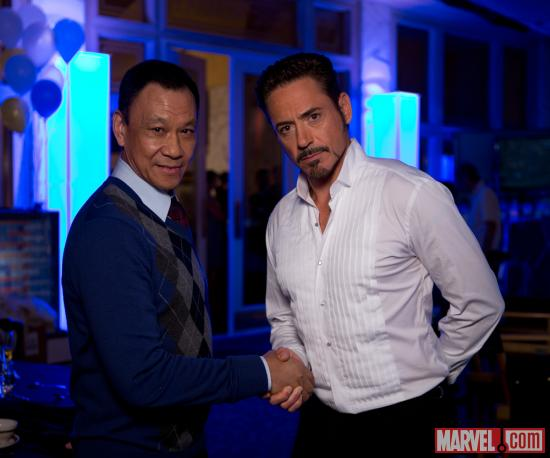 Marvel's Iron Man 3 stars Wang Xueqi and Robert Downey, Jr.