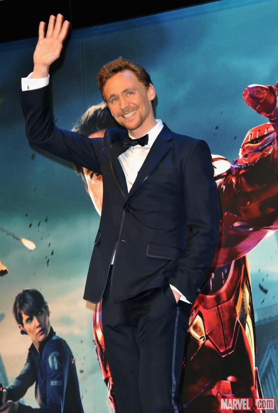 "Tom Hiddleston at the London premiere of ""Marvel's The Avengers"""
