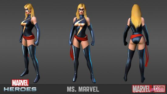 Ms. Marvel model sheet from the Marvel Heroes MMO