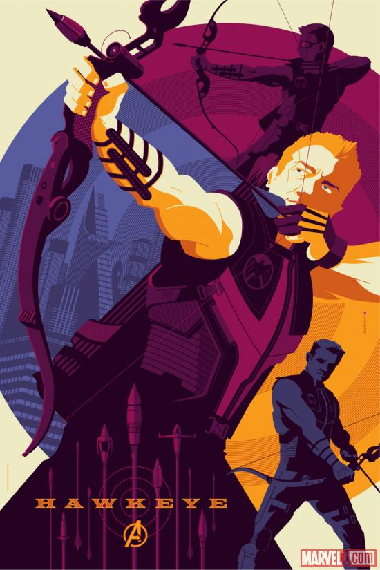 Marvel's The Avengers Hawkeye poster by Tom Whalen for Mondo