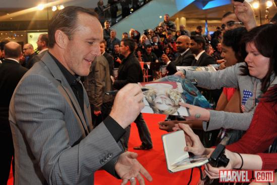 "Clark Gregg signing autographs at the London premiere of ""Marvel's The Avengers"""