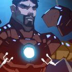 Tony Stark suits up in a color storyboard from Marvel's Avengers Assemble