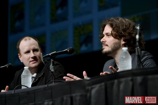 Studios President Kevin Feige and Ant-Man director Edgar Wright at Marvel Studios' Hall H presentation at SDCC 2012