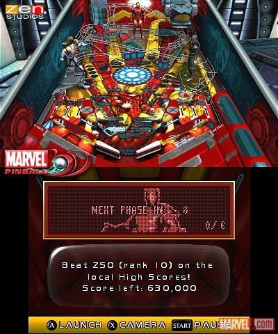 Screenshot of the Iron Man table from Marvel Pinball 3D