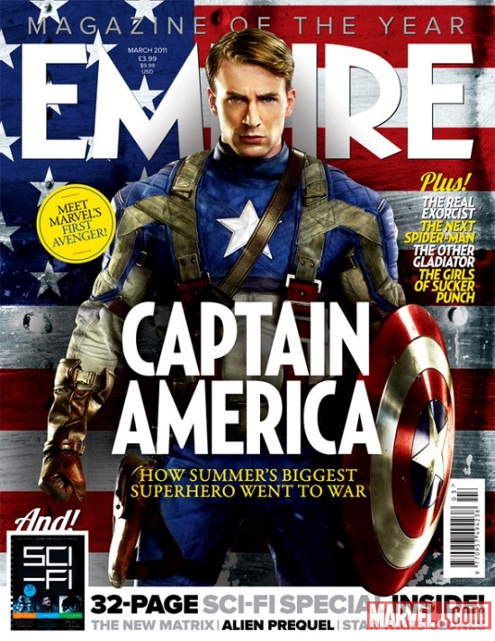 Chris Evans as Captain America on Empire Magazine