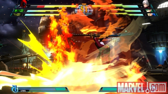 Screenshot of Deadpool and Dante from ''Marvel vs. Capcom 3''