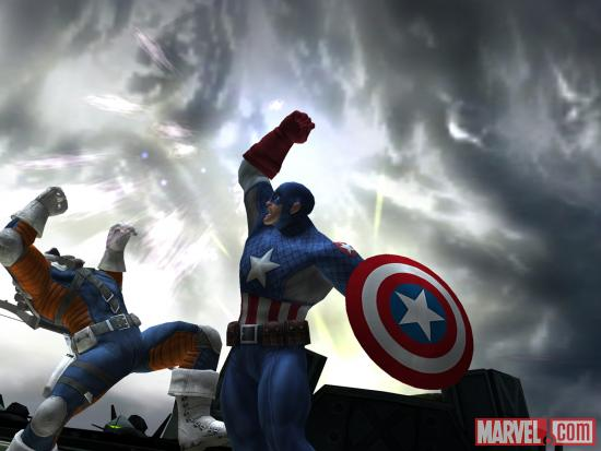 Screenshot of Captain America vs. Taskmaster in Avengers Alliance