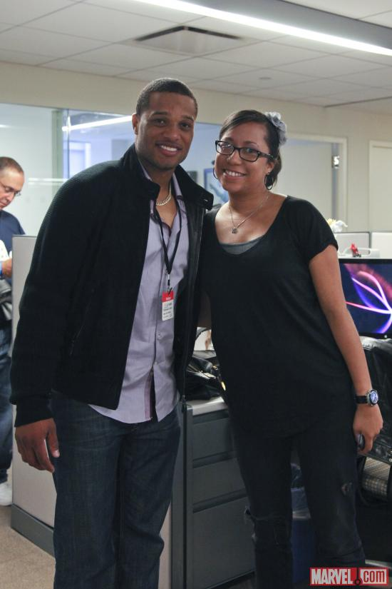 Yankees Second Baseman Robinson Cano with Marvel's Lori Lombert