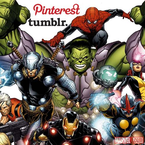 Marvel Pinterest and Tumblr accounts