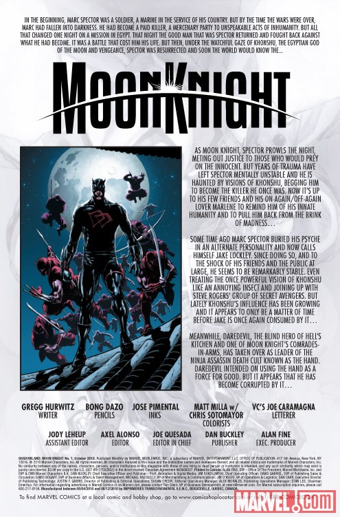 Shadowland: Moon Knight #1 recap page