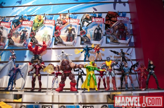 Marvel action figures at the Hasbro showroom