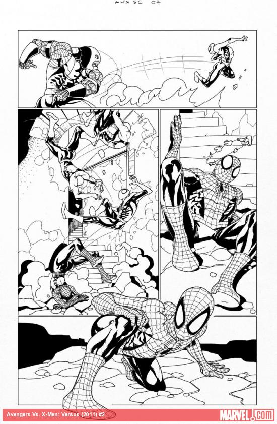 AVX: VS #2 inked preview art by Salvador Larroca