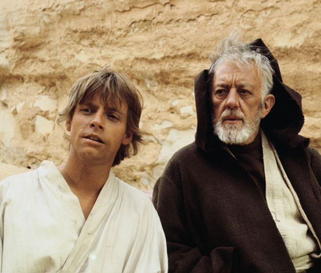 Mark Hamill and Alec Guinness during filming of A New Hope