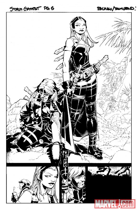 X-MEN: CURSE OF THE MUTANTS - STORM & GAMBIT #1 black and white preview art by Chris Bachalo