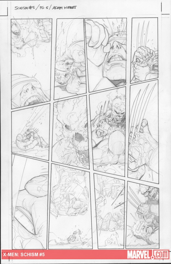 X-Men: Schism #5 preview pencils by Adam Kubert