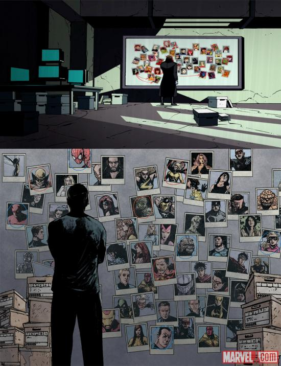 Nick Fury's wall of potential Skrulls