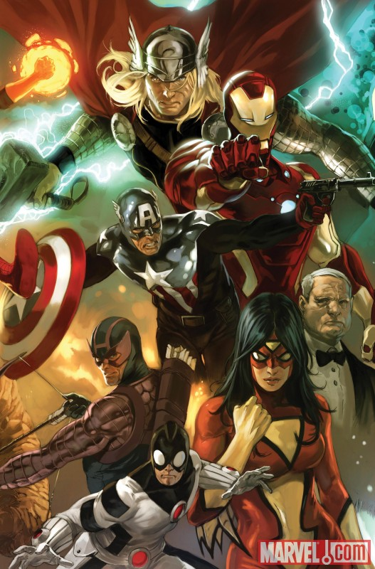 Image Featuring Hawkeye, Iron Man, Marvel Boy, Spider-Woman (Jessica Drew), Thor, The Winter Soldier, Edwin Jarvis
