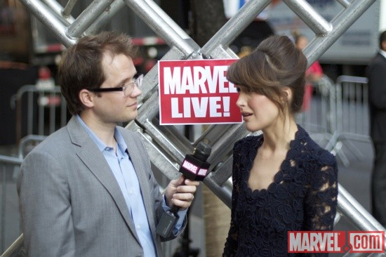 Rose Byrne (Moira MacTaggert) and Marvel Comics Senior Editor Nick Lowe at the 'X-Men: First Class' red carpet event in NYC