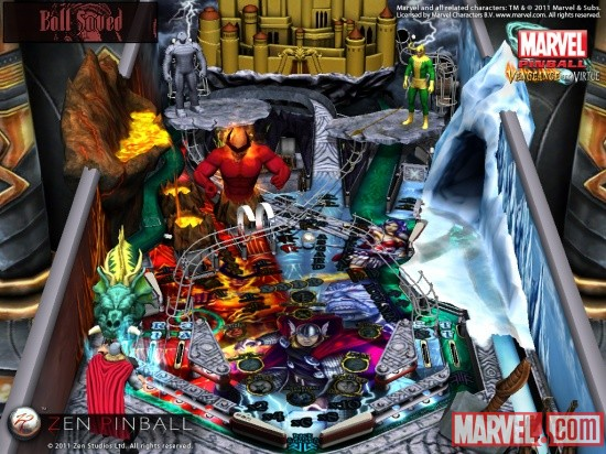 Screenshot of the Marvel Pinball Thor table on the iPad
