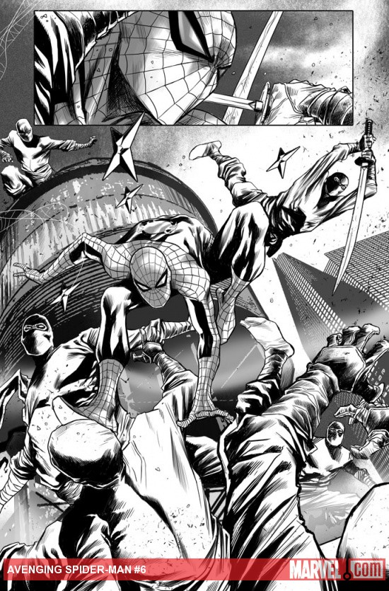 Avenging Spider-Man #6 inked preview art by Marco Checchetto