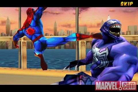 Screenshot of Spider-Man kicking Venom in ''Spider-Man: Total Mayhem''