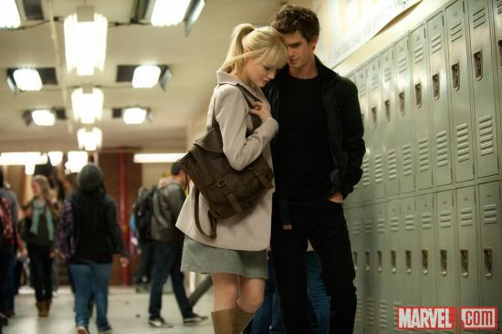 Emma Stone as Gwen Stacy and Andrew Garfield as Peter Parker/Spider-Man in The Amazing Spider-Man