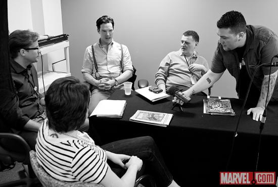 Benedict Cumberbatch and Steven Moffat with Marvel Senior Editor Nick Lowe, Editor Jeanine Schaefer and Agent M
