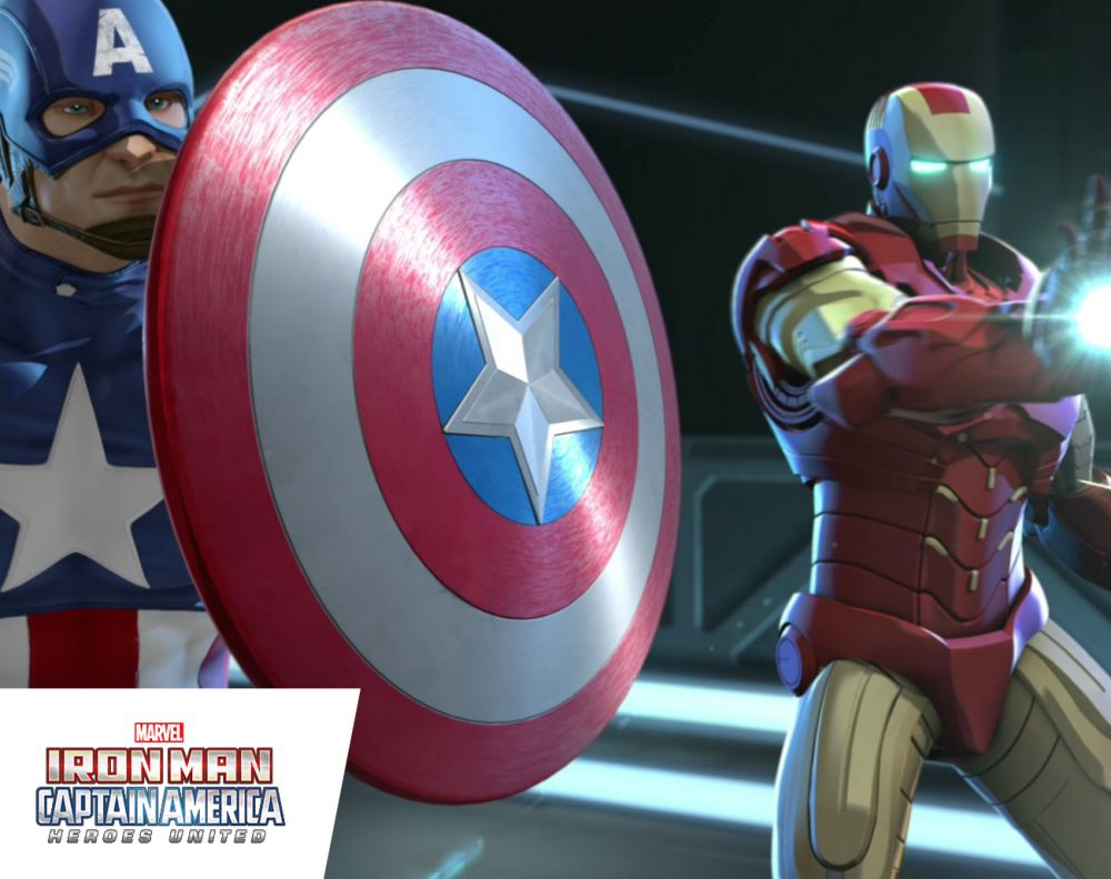 Iron Man and Captain America in Marvel's Iron Man & Captain America: Heroes United home