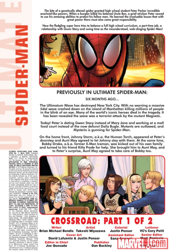 ULTIMATE COMICS SPIDER-MAN #7 Recap Page