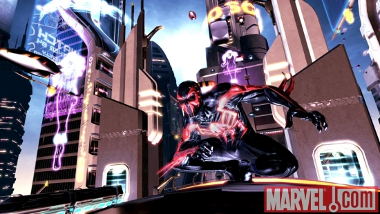 A screenshot of Spider-Man 2099 from Spider-Man: Shattered Dimensions