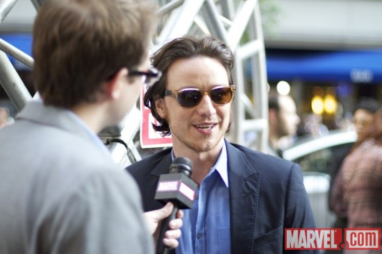 James McAvoy (Charles Xavier) and Marvel Comics Senior Editor Nick Lowe at the 'X-Men: First Class' red carpet event in NYC