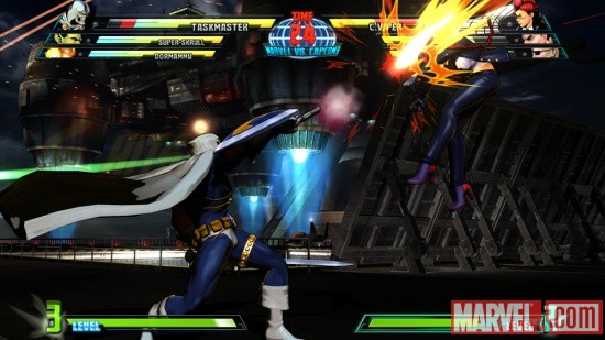 Taskmaster vs. C. Viper screenshot from Marvel vs. Capcom 3