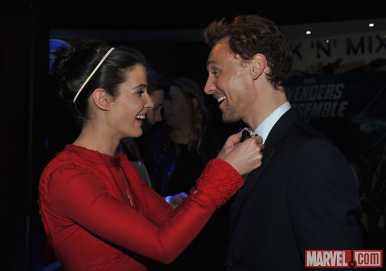 "Cobie Smulders and Tom Hiddleston at the London premiere of ""Marvel's The Avengers"""