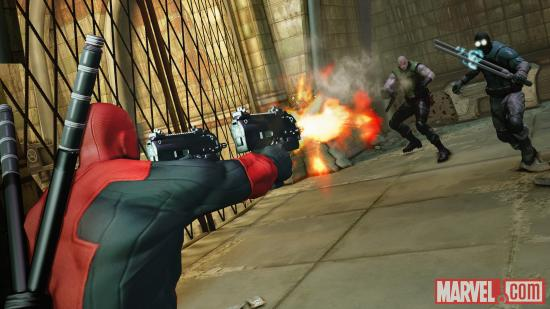 Deadpool fires on opponents in the Deadpool video game