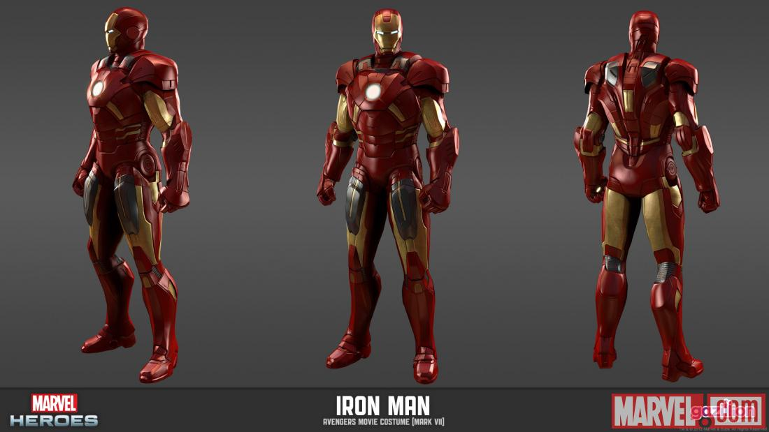 Character render of Iron Man (Avengers movie costume from Marvel Heroes)