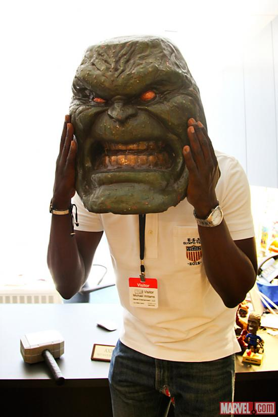 Actor Michael K. Williams with a Hulk Mask/Art Prop