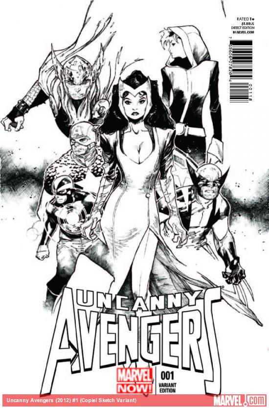 UNCANNY AVENGERS 1 COPIEL SKETCH VARIANT (NOW, WITH DIGITAL CODE)