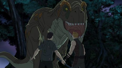 Tony Stark and Hawkeye meet a dinosaur in the Savage Land in Marvel's Avengers Assemble - Savages