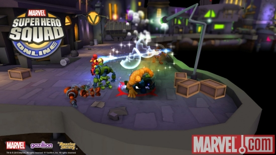 Screenshot of Invisible Woman, Iron Man and Thing from Super Hero Squad Online
