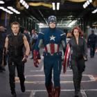 Jeremy Renner, Chris Evans, and Scarlett Johansson star as Hawkeye, Captain America, and Black Widow in Marvel's The Avengers