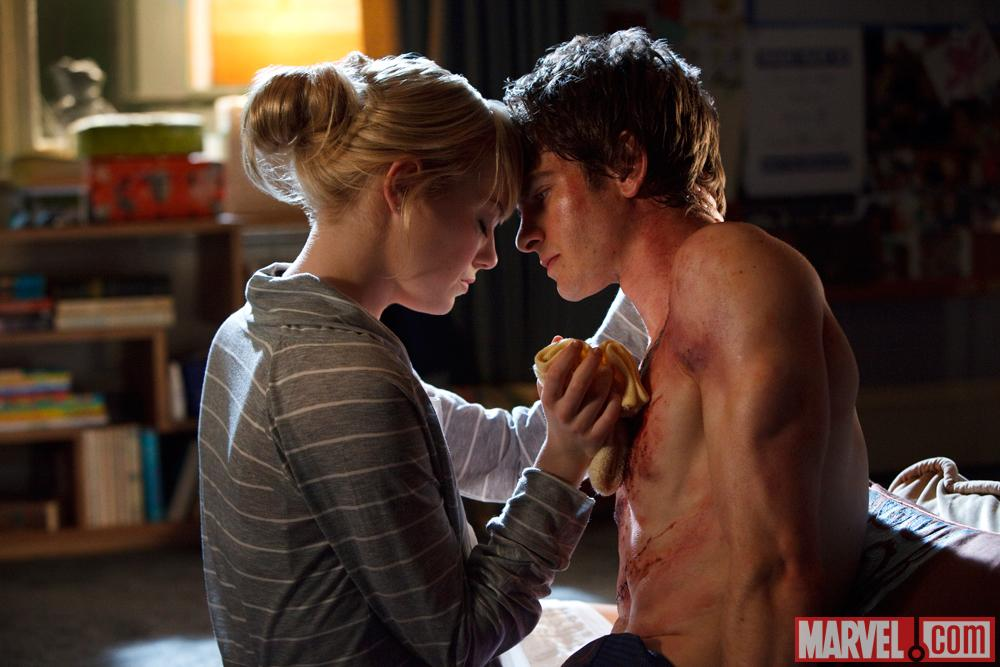 Emma Stone as Gwen Stacy and Andrew Garfield as Spider-Man/Peter Parker in The Amazing Spider-Man