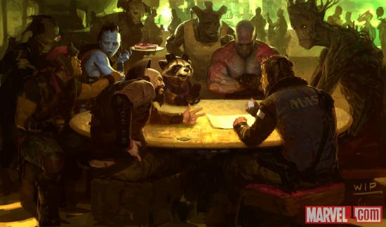 Marvel's Guardians of the Galaxy concept art by Charlie Wen featuring Rocket Raccoon, Drax and Groot