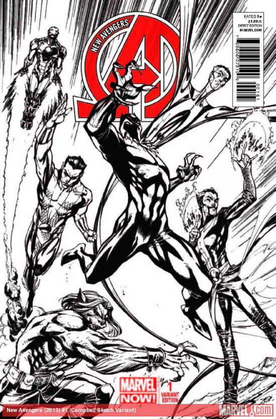 NEW AVENGERS 1 CAMPBELL SKETCH VARIANT (NOW, 1 FOR 150, WITH DIGITAL CODE)