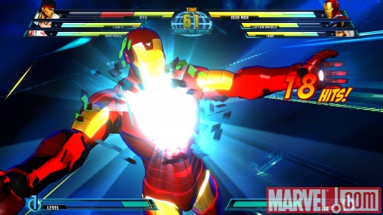 Screenshot of Iron Man from ''Marvel vs. Capcom 3''